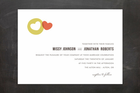 """""""Missing Piece"""" - Modern, Simple Print-it-yourself Wedding Invitations in Strawberry by Design Lotus."""