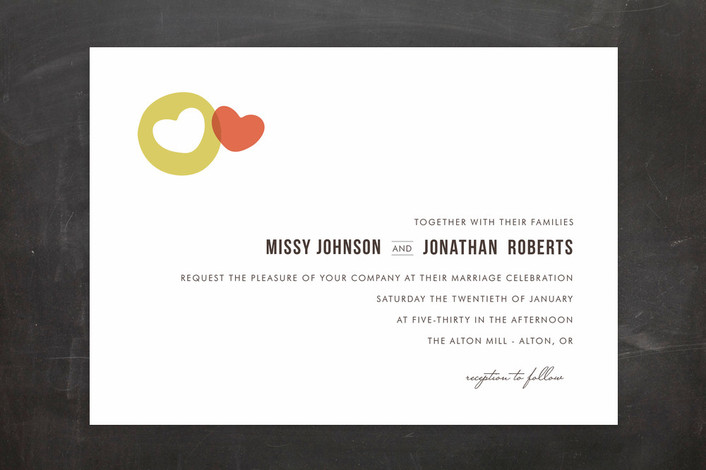 """Missing Piece"" - Modern, Simple Print-it-yourself Wedding Invitations in Strawberry by Design Lotus."