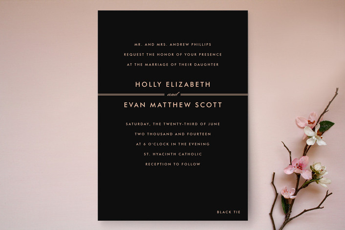 """The Threshold"" - Simple Print-it-yourself Wedding Invitations in Rich Black by Design Lotus."