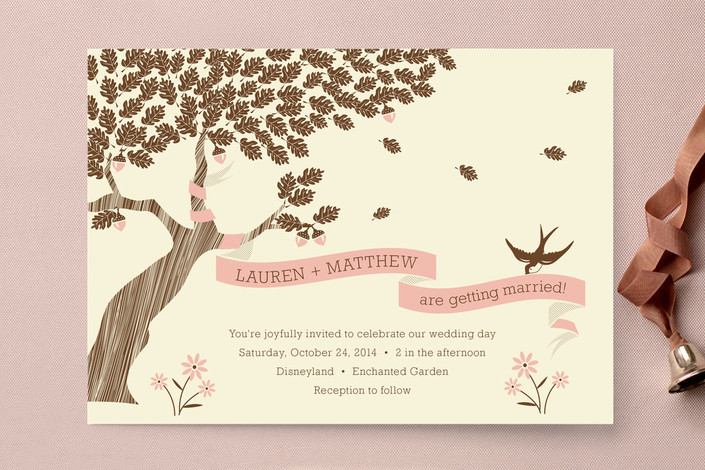 """""""Under the Tree"""" - Rustic Print-it-yourself Wedding Invitations in Rose by Coco and Ellie Design."""