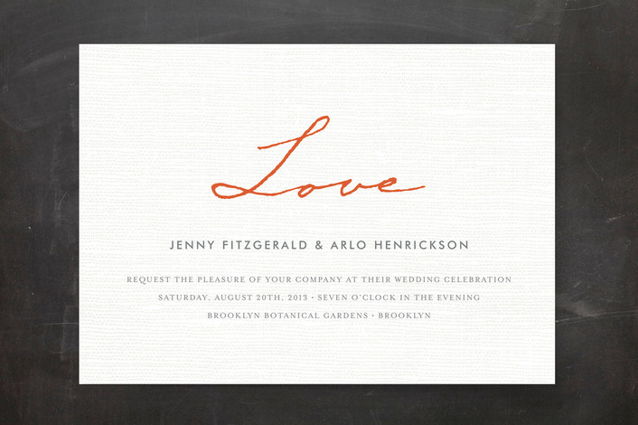"""Simply in Love"" - Bold typographic, Simple Print-it-yourself Wedding Invitations in Orange Zest by cambria."