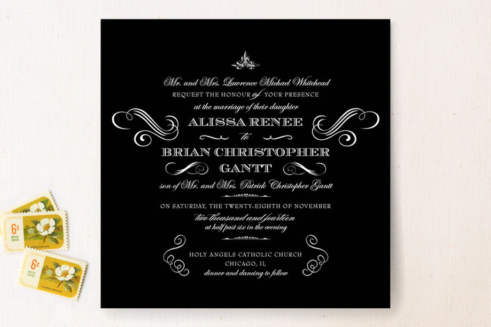 """Ornate Love"" - Classical Print-it-yourself Wedding Invitations in Black by Jennifer Postorino."