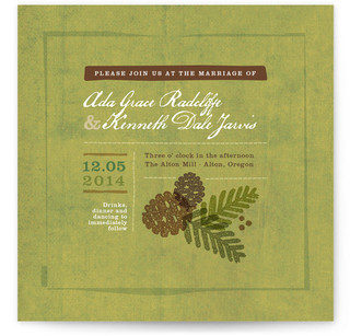 Rustic Pinecones Print-It-Yourself Wedding Invitations