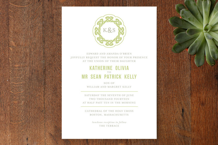 """Modern Celtic Knot"" - Monogrammed Print-it-yourself Wedding Invitations in Meadow by Karen Glenn."