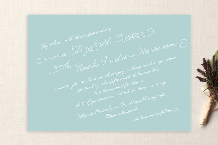 """Calligraphy"" - Classical, Simple Print-it-yourself Wedding Invitations in Robin's Egg by Lauren Chism."