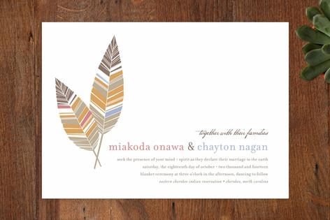 """Spirit Feathers"" - Print-it-yourself Wedding Invitations in Burnt Orange by Mandy Rider."