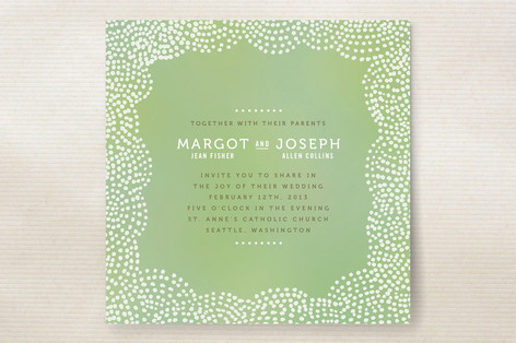 """The Pointillist"" - Hand Drawn Print-it-yourself Wedding Invitations in Emerald by Moglea."
