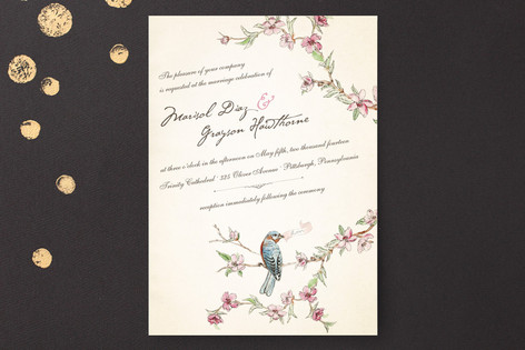 """Blue Bird of Happiness"" - Vintage Print-it-yourself Wedding Invitations in Antique by Paige Rothhaar."