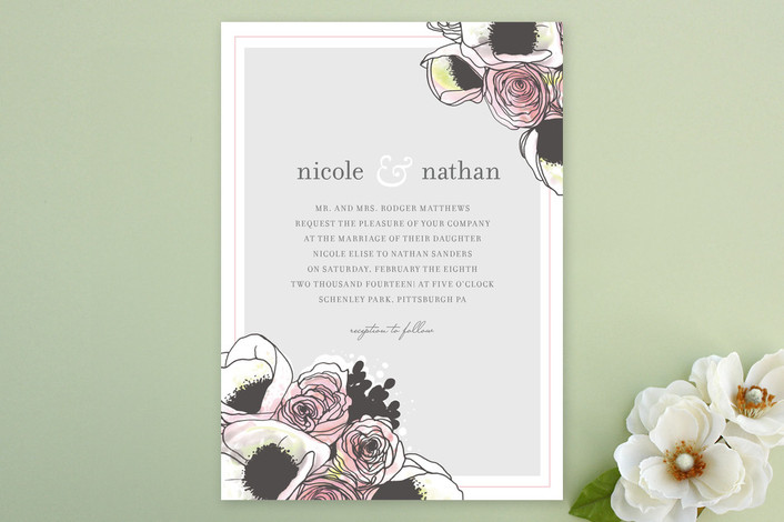 """Belles Fleurs"" - Rustic, Floral & Botanical Print-it-yourself Wedding Invitations in Soft Grey by Penelope Poppy."