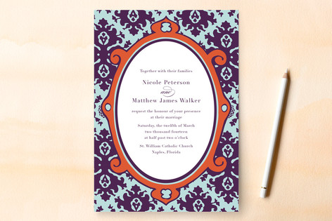 """""""The Gramercy"""" - Classical, Vintage Print-it-yourself Wedding Invitations in Dark Orchid by danielleb."""