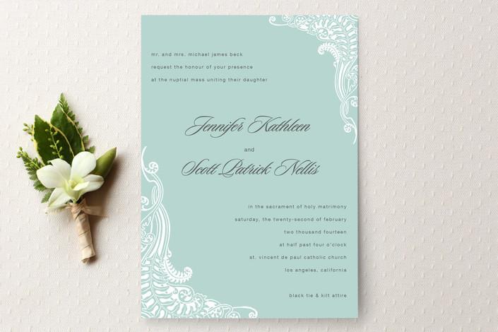 """Jennifer"" - Classical Print-it-yourself Wedding Invitations in Soft Aqua by Splendid Press."