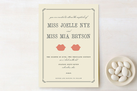 """Kiss + Kiss"" - Whimsical & Funny Print-it-yourself Wedding Invitations in Crème by Penelope Poppy."