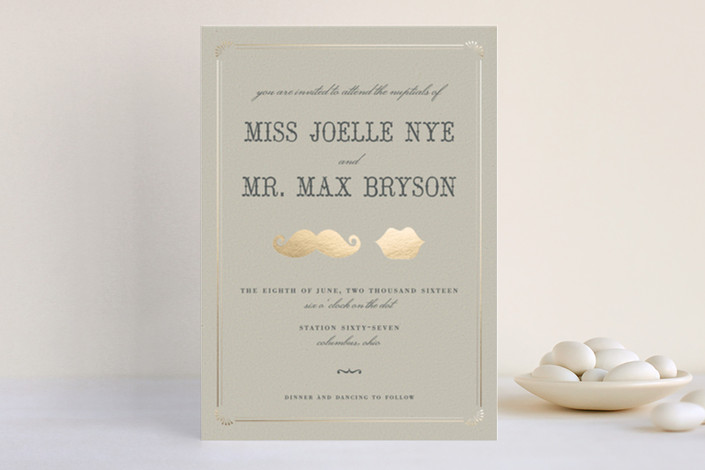 """Stache + Kiss"" - Whimsical & Funny Print-it-yourself Wedding Invitations in Cream by Penelope Poppy."
