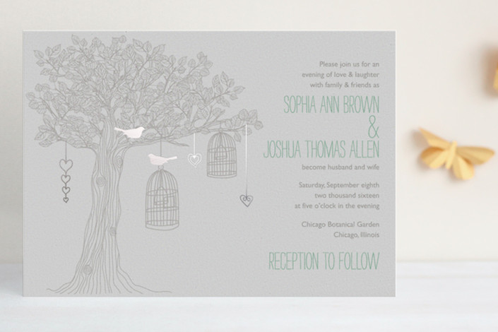 """""""Love Let Loose"""" - Whimsical & Funny Print-it-yourself Wedding Invitations in Seaglass by Paisley Tree Press."""
