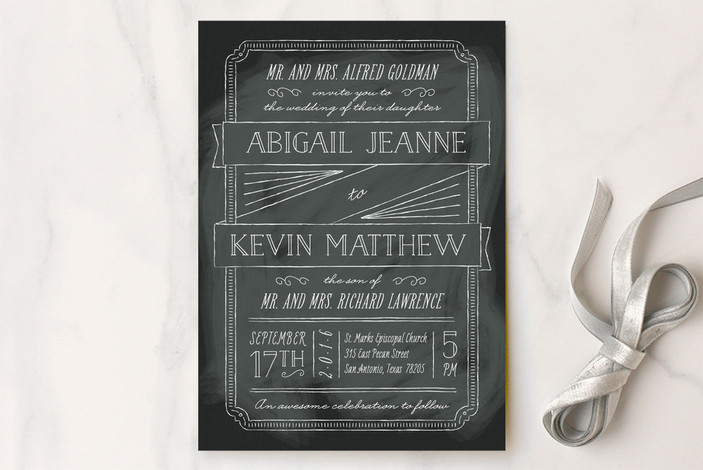 """Drawn to Each Other"" - Hand Drawn Print-it-yourself Wedding Invitations in Noir by Ann Gardner."