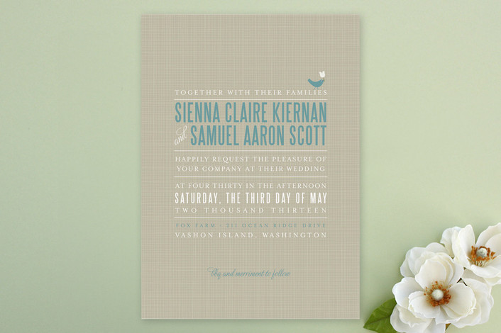 """SWEET LINEN"" - Simple Print-it-yourself Wedding Invitations in Light Denim by Carrie Eckert."