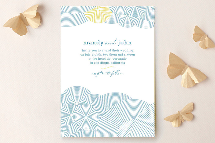 """""""There's an Air About Them"""" - Beach Print-it-yourself Wedding Invitations in Aqua by bumble ink."""