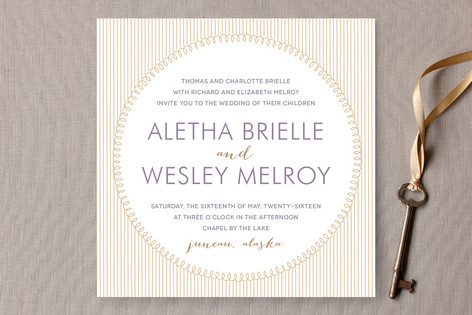 """""""With This Ring"""" - Modern Print-it-yourself Wedding Invitations in Gold by R studio."""
