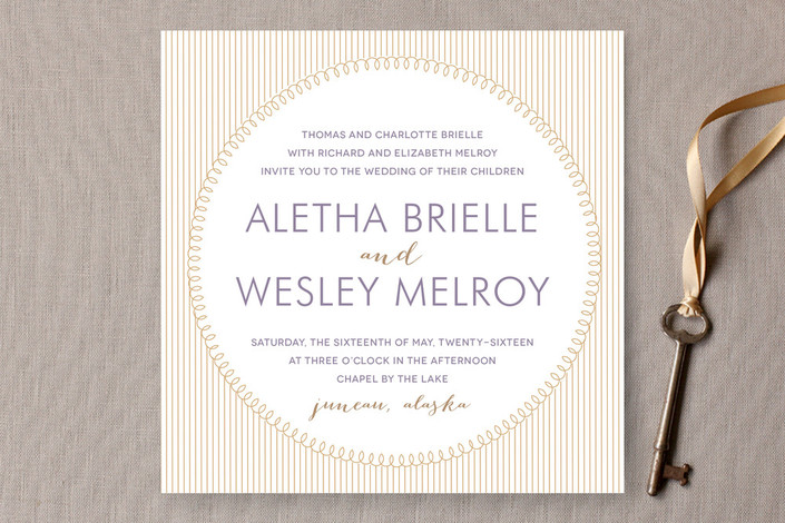 """With This Ring"" - Modern Print-it-yourself Wedding Invitations in Gold by R studio."