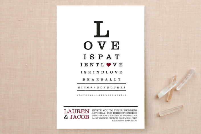 """""""Eye Chart"""" - Whimsical & Funny Print-it-yourself Wedding Invitations in Ruby by Katie Speelman."""