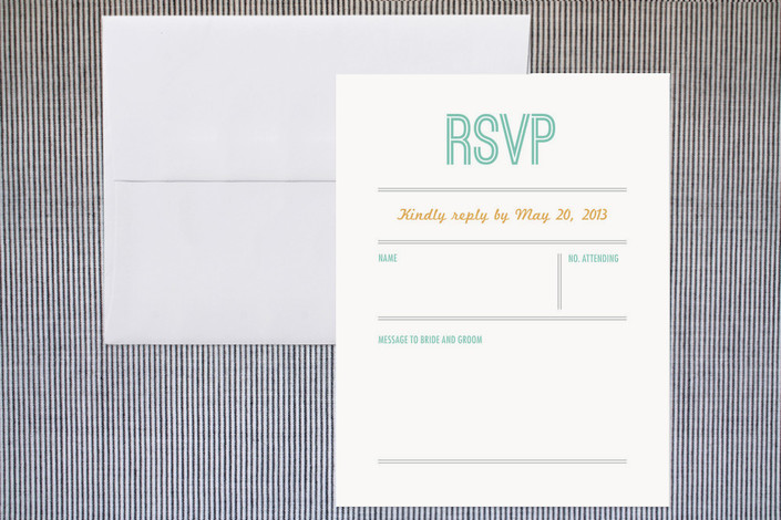 """""""Time Flies"""" - Modern, Simple Print-it-yourself Rsvp Cards in Seafoam by Olivia Raufman."""