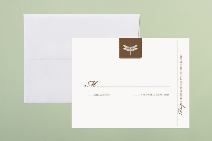 """""""Classic Dragonfly Emblem"""" - Classical, Vintage Print-it-yourself Rsvp Cards in brown by bumble ink."""
