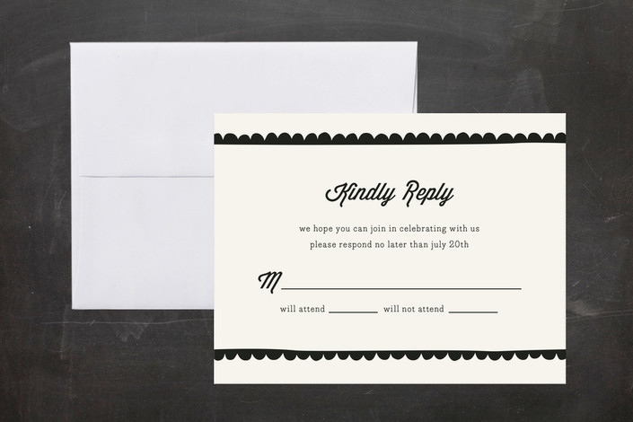 """Simple Scallop"" - Hand Drawn, Vintage Print-it-yourself Rsvp Cards in Tuxedo by Laura Hankins."