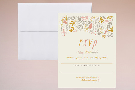 """The Grainfield"" - Rustic, Floral & Botanical Print-it-yourself Rsvp Cards in Tangerine by Moglea."