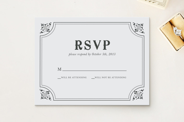 """""""After Sunset"""" - Monogrammed, Vintage Print-it-yourself Rsvp Cards in Tuxedo by Kristen Smith."""