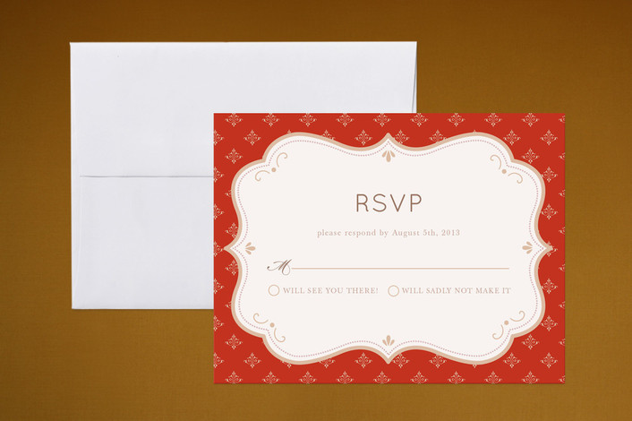 """""""Indian Flair"""" - Classical Print-it-yourself Rsvp Cards in Red by Kristen Smith."""
