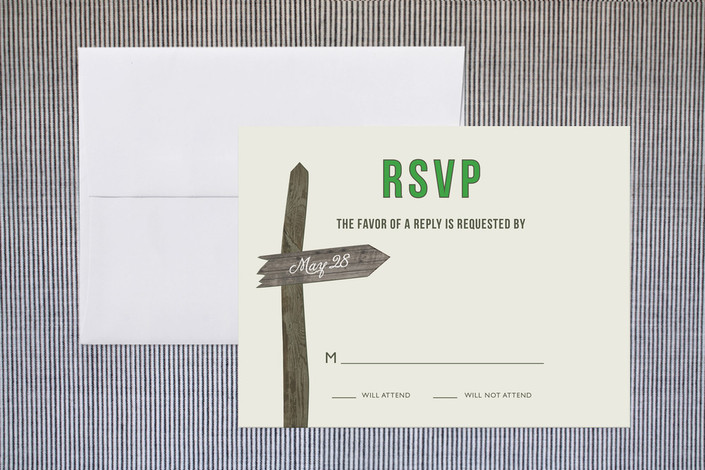 """Wedding This Way"" - Rustic Print-it-yourself Rsvp Cards in Clover by Carrie Eckert."
