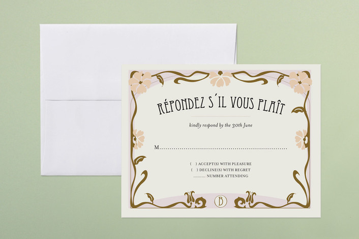 """""""Champagne & French Cancan"""" - Destination, Vintage Print-it-yourself Rsvp Cards in Hazelnut by Bonjour Paper."""
