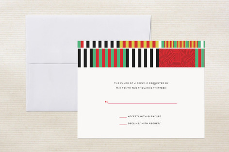 """""""Daishiki"""" - Print-it-yourself Rsvp Cards in Cherry by Marabou Design."""