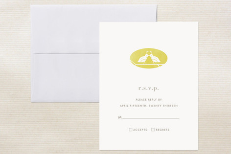 """Kissing Quails"" - Simple, Modern Print-it-yourself Rsvp Cards in Quince by nocciola design."