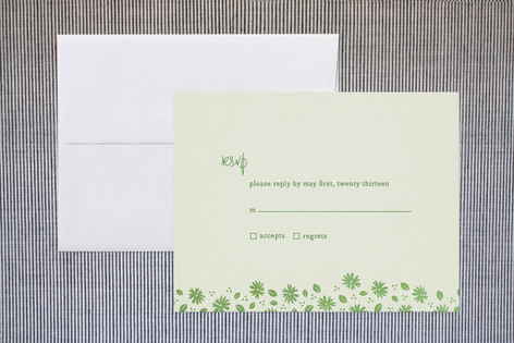 """Liberty Floral"" - Floral & Botanical Print-it-yourself Rsvp Cards in Grass by nocciola design."