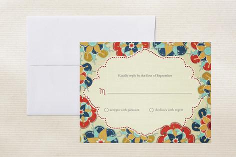 """""""Las Flores Bonitas"""" - Floral & Botanical Print-it-yourself Rsvp Cards in Cobalt by Wendy Van Ryn."""
