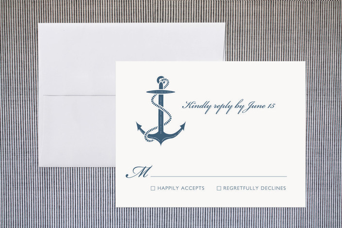 """""""Navy Stars and Stripes"""" - Beach, Preppy Print-it-yourself Rsvp Cards in Turf by Sarah Curry."""