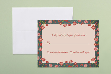 """""""Serendipity Floral"""" - Floral & Botanical Print-it-yourself Rsvp Cards in Midnight Teal by Wendy Van Ryn."""
