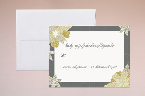 """""""Charcoal and Floral"""" - Floral & Botanical Print-it-yourself Rsvp Cards in Ochre by Wendy Van Ryn."""