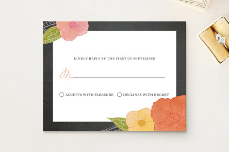 """""""A Punch of Poppies"""" - Floral & Botanical Print-it-yourself Rsvp Cards in Apricot by Wendy Van Ryn."""
