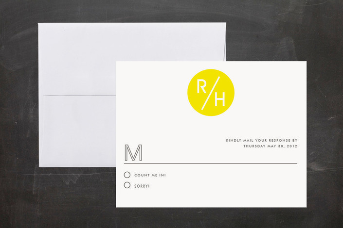 """Bright Future"" - Modern, Simple Print-it-yourself Rsvp Cards in Neon Yellow by root beer float."