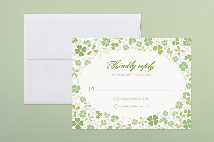 """Lucky Horseshoe"" - Vintage, Floral & Botanical Print-it-yourself Rsvp Cards in Parchment by 2birdstone."