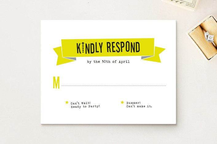 """Afterparty"" - Bold typographic, Modern Print-it-yourself Rsvp Cards in Citron by Ann Gardner."