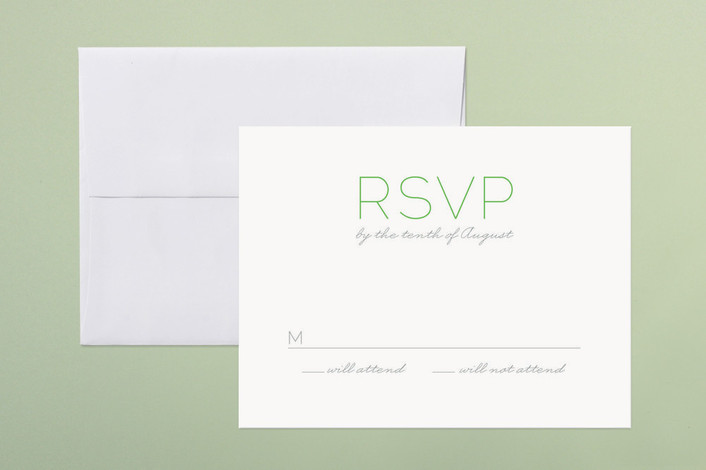 """""""Simply Couture"""" - Bold typographic, Simple Print-it-yourself Rsvp Cards in Kelly by cambria."""