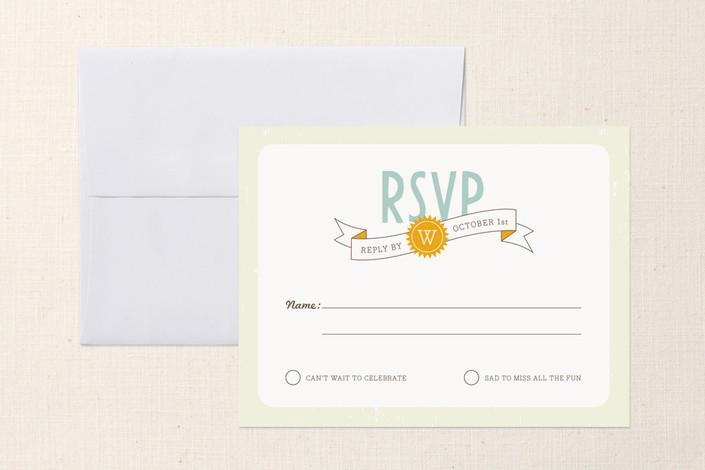 """Mountain Wonderland"" - Destination, Monogrammed Print-it-yourself Rsvp Cards in Ice Blue by Jana Volfova."