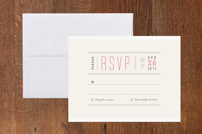 """""""Column Rule"""" - Simple, Modern Print-it-yourself Rsvp Cards in Pink Rouge by Jennifer Wick."""