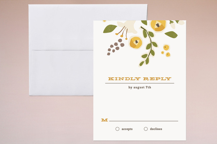 """""""Summer's End"""" - Floral & Botanical, Rustic Print-it-yourself Rsvp Cards in Pear by Jennifer Wick."""
