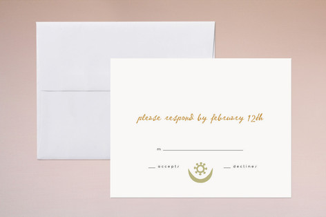 """""""The Moon and the Star"""" - Simple Print-it-yourself Rsvp Cards in Ochre by Erin Pescetto."""