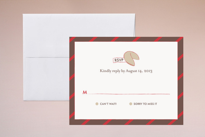 """""""Read This Fortune, Cookie"""" - Simple, Modern Print-it-yourself Rsvp Cards in Red by Frooted Design."""