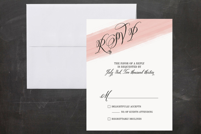 """Awash Watercolor"" - Modern, Bold typographic Print-it-yourself Rsvp Cards in Blush by Ann Gardner."